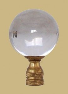 Crystal Ball With Brass Base Lamp Finial Glass Crystal Ball
