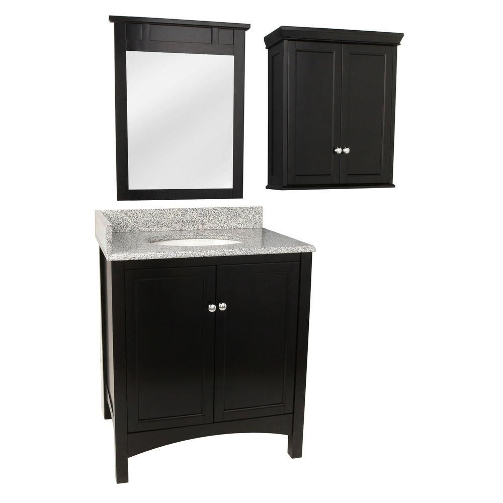 Foremost Haven 31 in. Vanity in Espresso with Granite Vanity Top in Rushmore Grey and Mirror and Wall Cabinet in Espresso