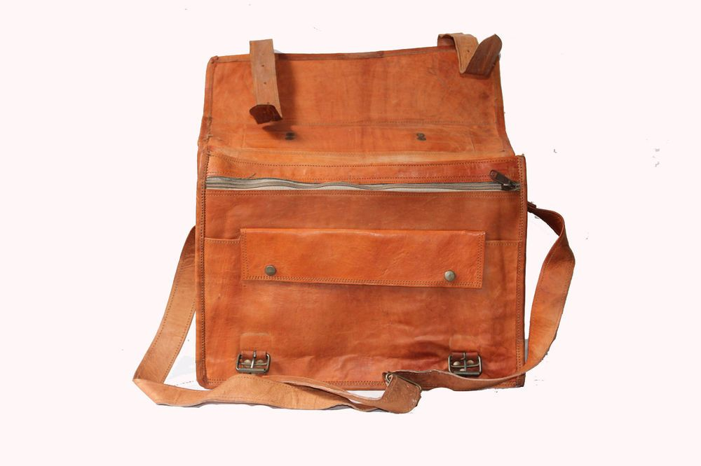 Original Goat Leather Bag Rustic Laptop Messenger Shoulder Office ...