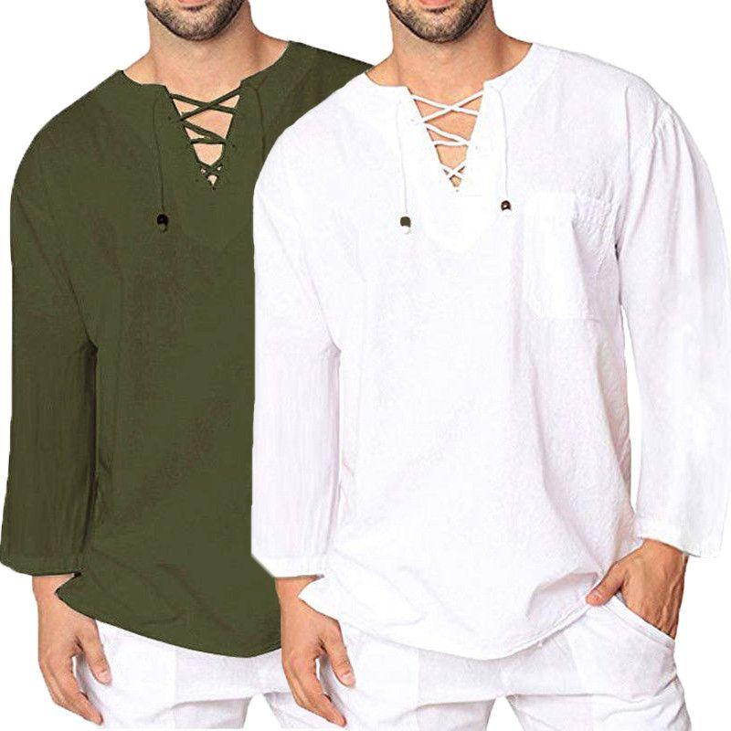 official photos c284b 4dd98 INCERUN Mens Retro-Normallack-beiläufiges T-Shirt V-Ansatz ...