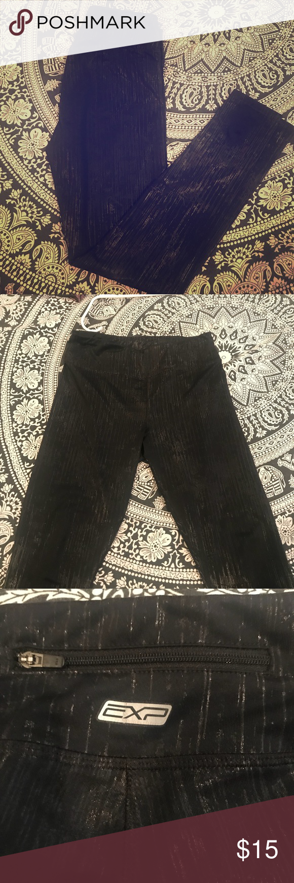 EXP (Express) Yoga 🧘♀️Active 🏃🏽♀️ Leggings Size: M/L (I'm a size 8/10 and they fit perfect). No rips or seam tears. Features black metallic detail. Check out my closet and bundle to save! Express Pants Leggings