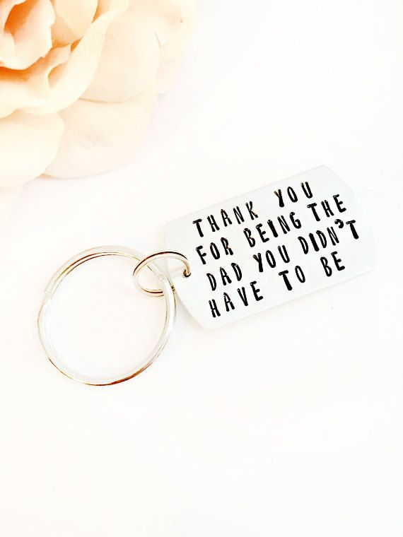 Hand stamped dad keychain - gifts for stepdad christmas - step dad ...