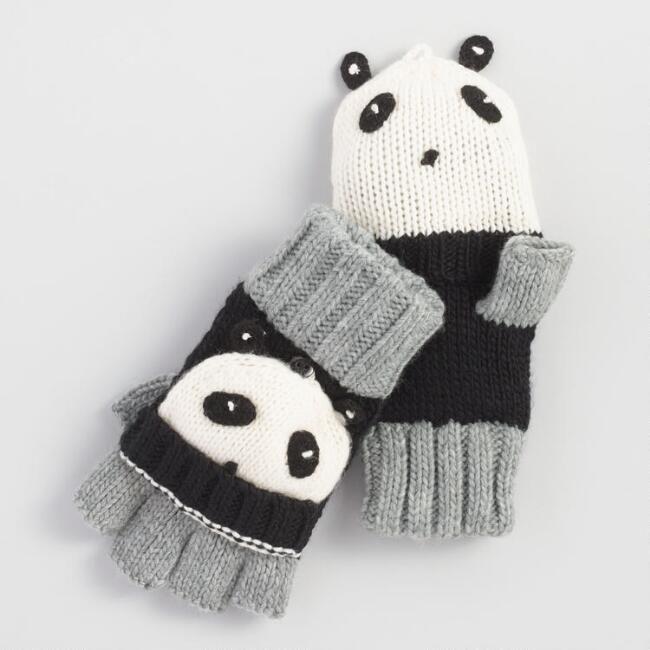 b48acbd0a69 World Market Gray and Black Panda Convertible Gloves