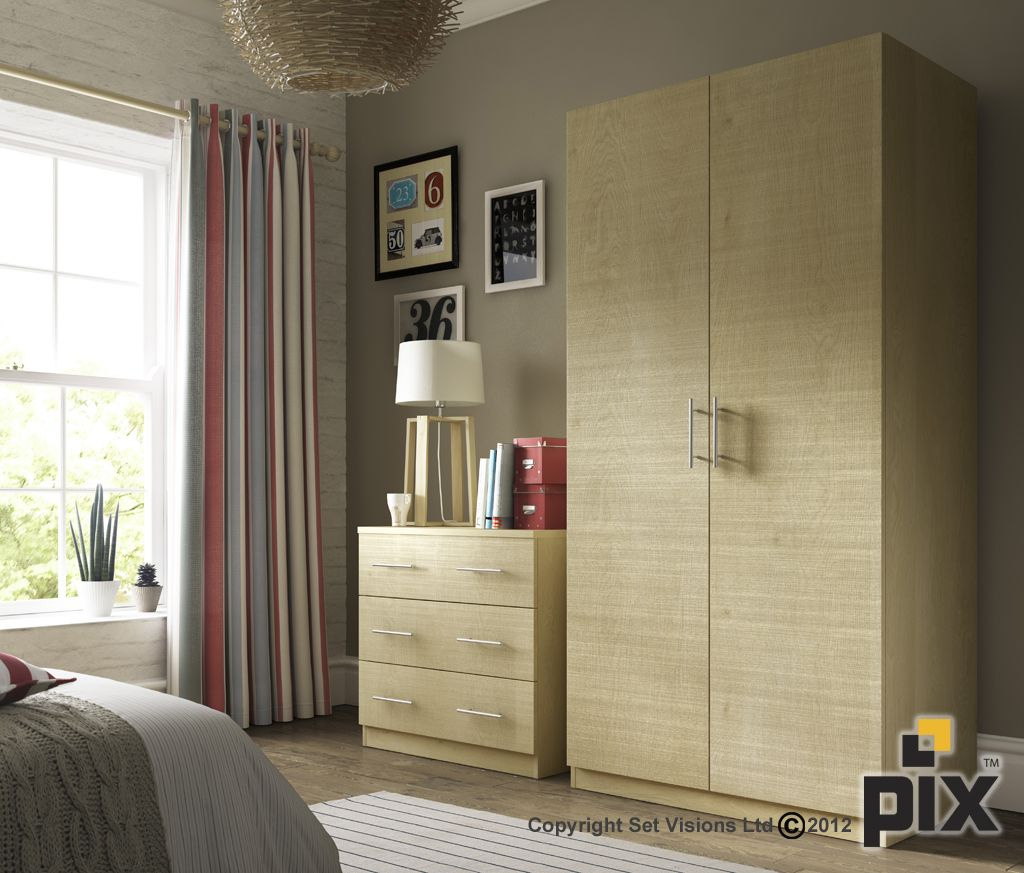 Textured oak wardrobe and bedroom draws with natural wood accents