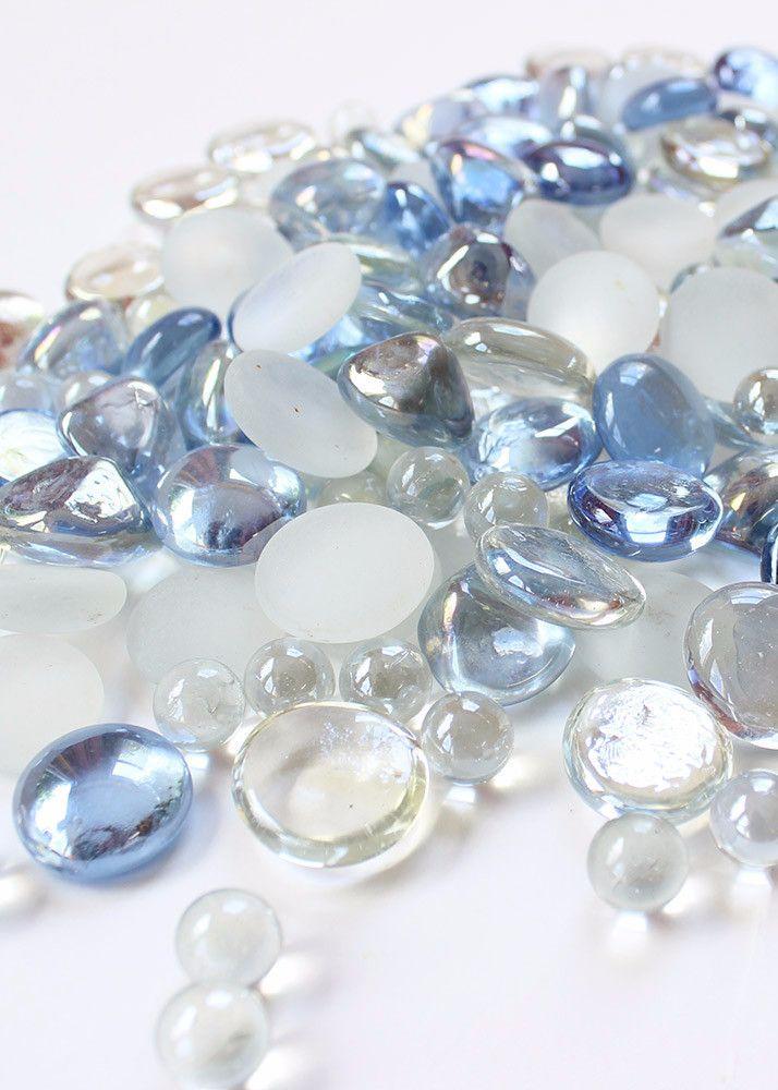 Assorted Glass Gems Vase Filler In Sky Blue With Luster 26 Lb Bag