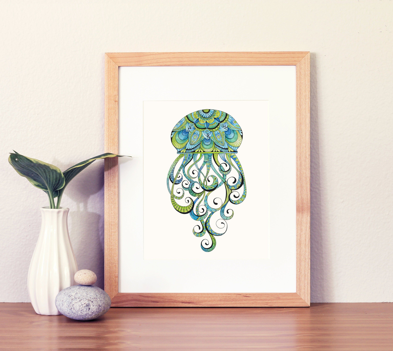 Jellyfish Art Jellyfish Wall Decor Blue And Green Art Etsy In 2020 Jellyfish Art Green Art Art