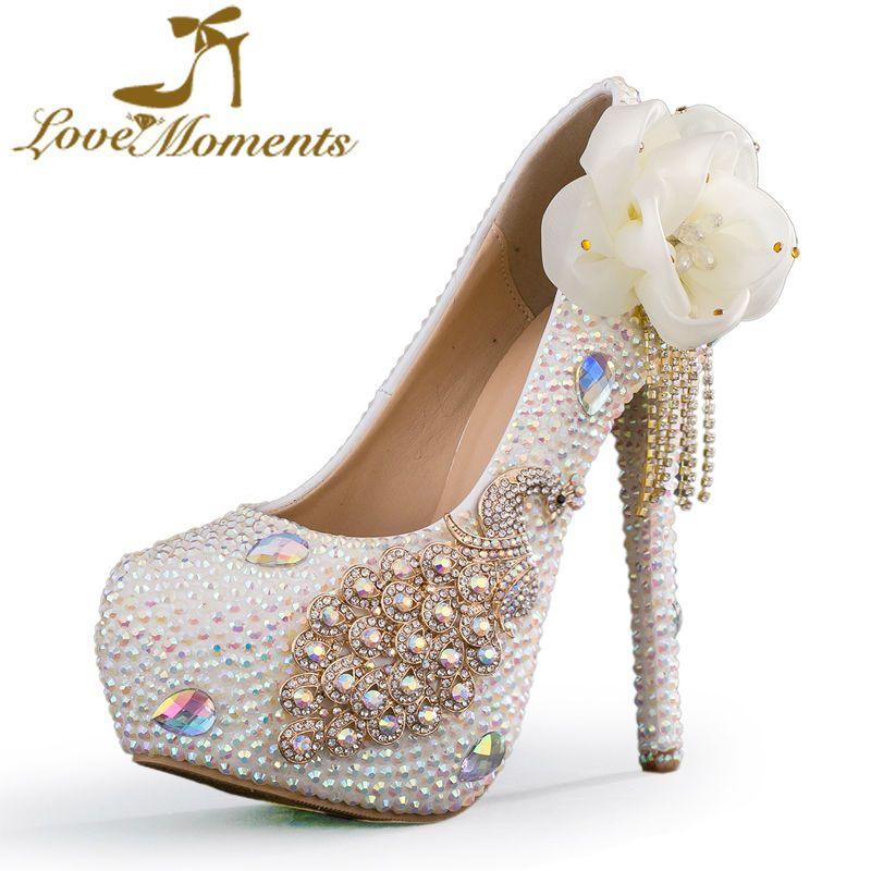 3db5981a1ee6 Love Moments sparkled Ab rhinestone high heels thin heels round toe tassel bridal  shoes platform pumps