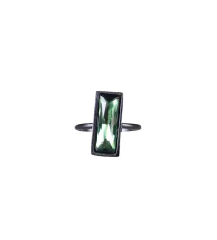 Small Rectangle Stack Ring in Gunmetal