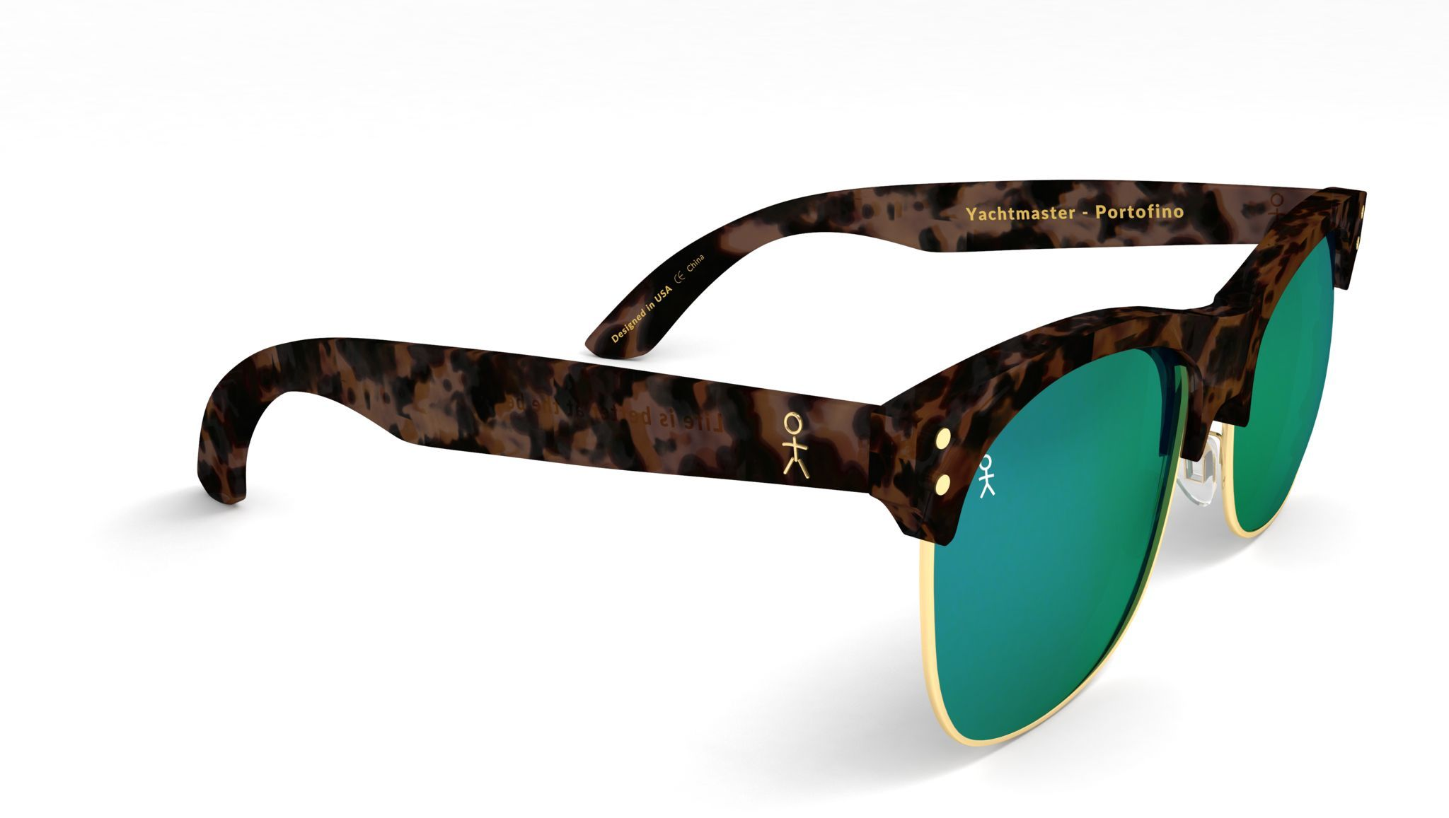 Yachtmaster - Portofino - Tortoise and Green Mirrored Sunglasses