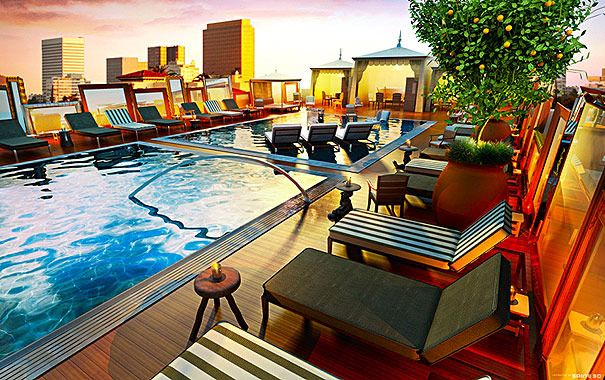 Poolside at the SLS Hotel in Beverly Hills, CA