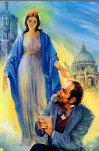 Aparicion Virgen Roma ايقونة قبطية ظهور العذراء مريم في روما لليهودى الفونس راتسبون ومدالية المعجزة 1842 Virgem Maria Our Lady Arte Para Impressao