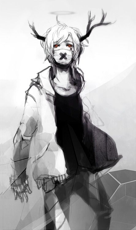 Black And White Deer Anime Boy White Coat Black X On Mouth And