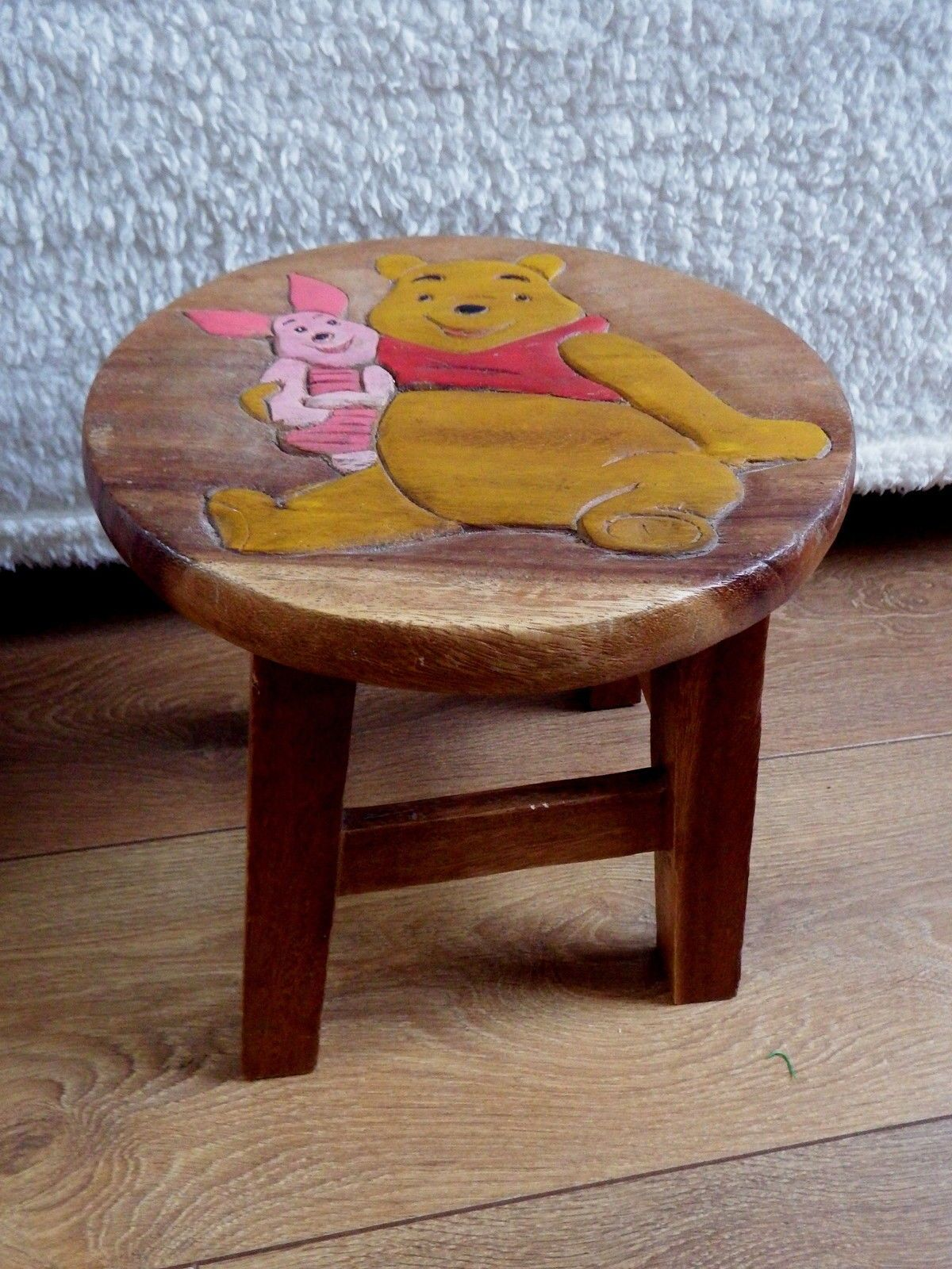 Childrenu0027s Stool, Solid Wood/Hardwood, Disney Winnie The Pooh Carved  Decoration Uk.