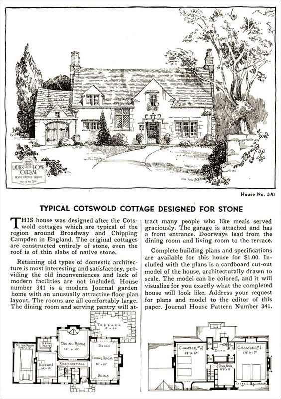 Design No 341 1935 Ladies Home Journal House Pattern Catalog Cotswolds Cottage Cottage Floor Plans Vintage House Plans