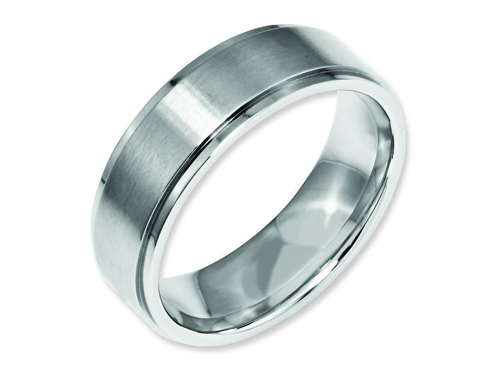 Chisel Stainless Steel Ridged Edge 7mm Brushed And Polished Weeding Band