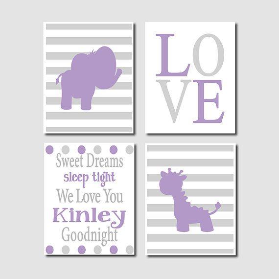 Elephant Nursery Wall Decor baby girl purple grey elephant giraffe nursery wall art quote set
