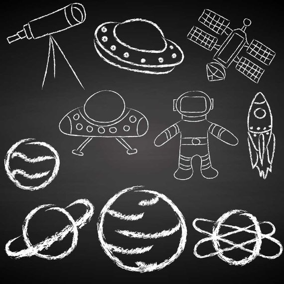 Outer Space Doodle Clipart Made With Chalk White Chalkboard Etsy Space Doodles Galaxy Drawings Clip Art
