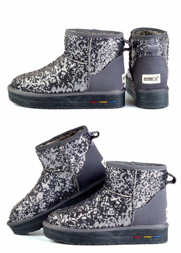 86306390bbd180 Aliexpress.com   Buy Fashion Sequins Women Snow Boots 2015 Winter Paillette  Genuine Leather Short