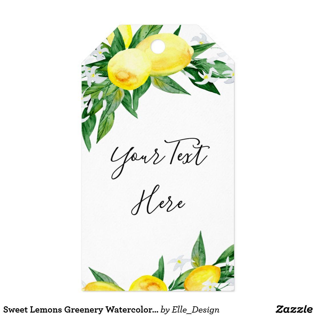 Sweet Lemons Greenery Watercolor Gift Favor Tag Zazzle Com Watercolour Gift Favor Tags Personalized Gift Tags