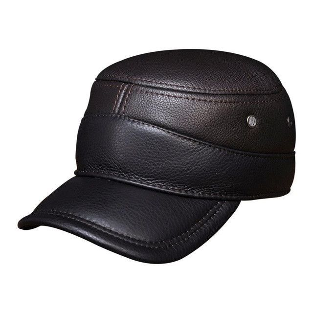 mlb baseball hat with ear flaps winter capital men genuine leather cap warm real caps hats