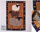 Wool Applique Punch Needle Embroidery by ThreeSheepStudio