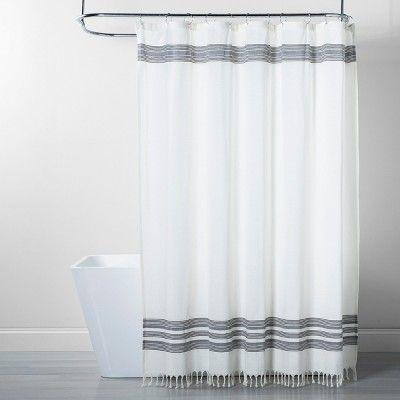 Striped Fringe Shower Curtain Off White Threshold White