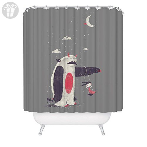 Helping Hand Sloth Shower Curtain / Friendly Monster and Girl / Made in USA / Great Decoration Gift for Bathroom (*Amazon Partner-Link)