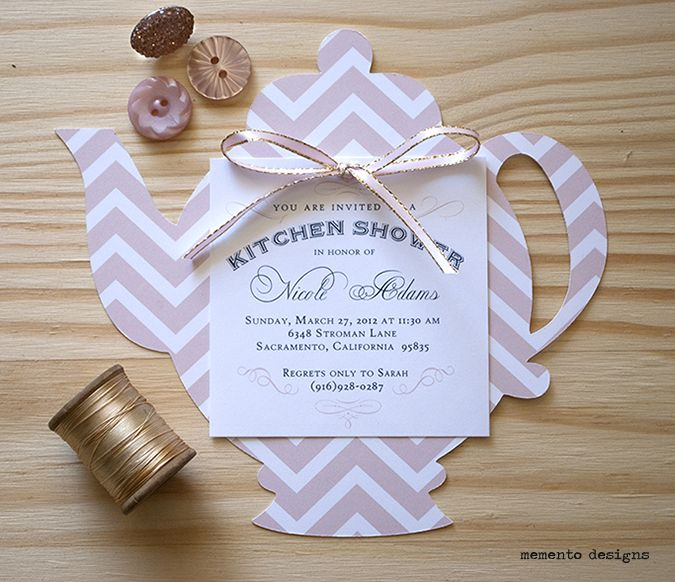 Cut Teapot Invitation Blush Pink