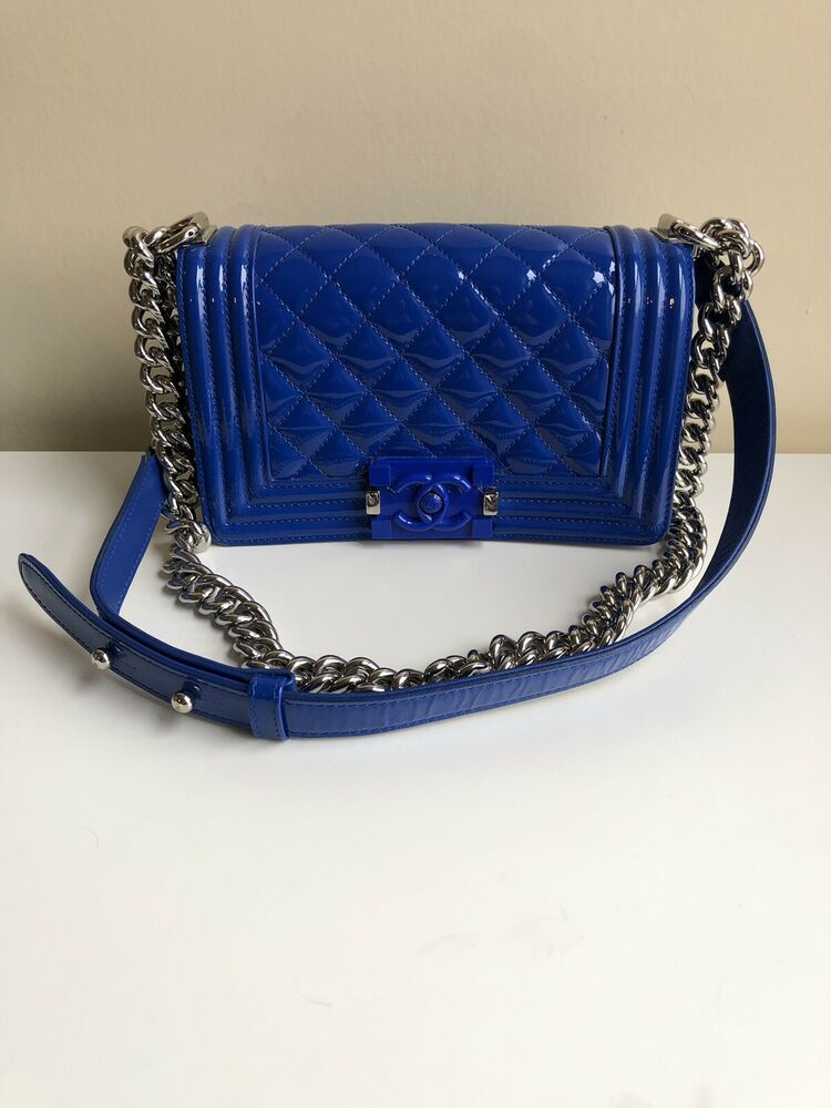52bcd4d5ae650d AUTH CHANEL LIMITED EDITION Blue PATENT LEATHER BOY Plexiglass Cruise 2015  Small