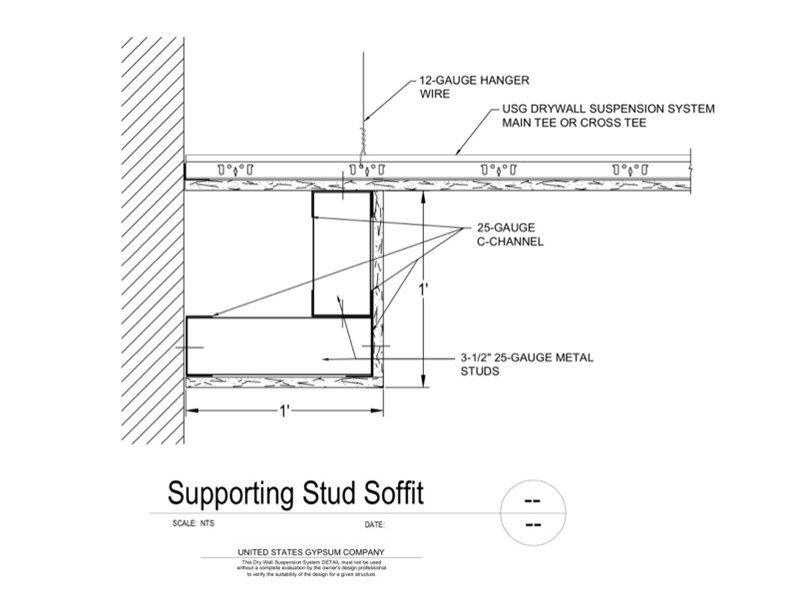 Usg Design Studio 09 21 16 93 231 Dwss Supporting Stud Soffit Download Details Metal Stud Framing Framing Construction Ceiling Detail