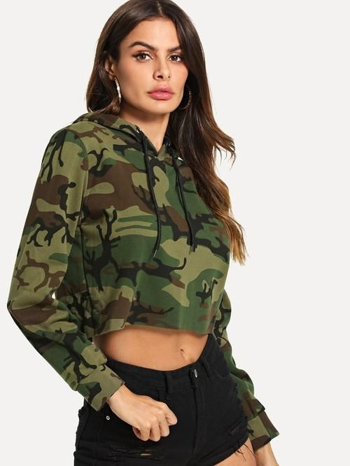 46819ee755d Crop sweatshirt in Camo print with hoodie. Casual or gym wear. Style :  Casual Type : Pullovers Decoration : Drawstring Pattern Type : Camouflage  Color ...