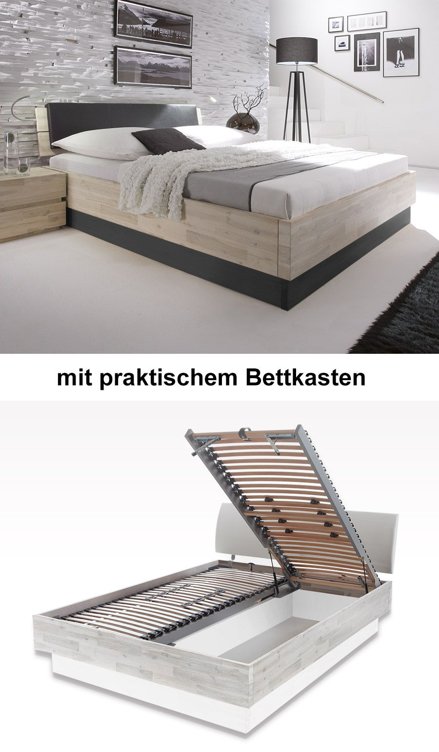 massives akazienholz bett mit praktischem optionalem bettkasten bett massiv. Black Bedroom Furniture Sets. Home Design Ideas