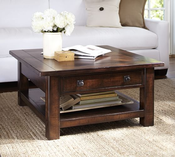 Benchwright Square Coffee Table Rustic Mahogany Living Room - Pottery barn square coffee table