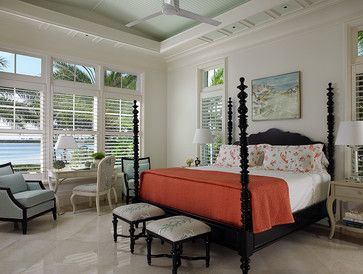 Love this Vero Beach, FL bedroom.   Note the soft mint painted ceiling and the blocks of mint around the edges of the ceiling with molding.