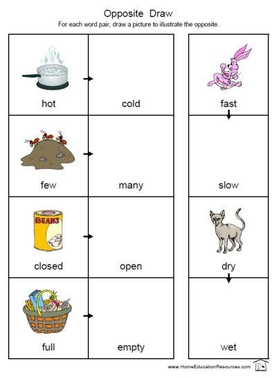math worksheet : free printable preschool kindergarten first grade draw the  : Printable Worksheets Opposites Kindergarten