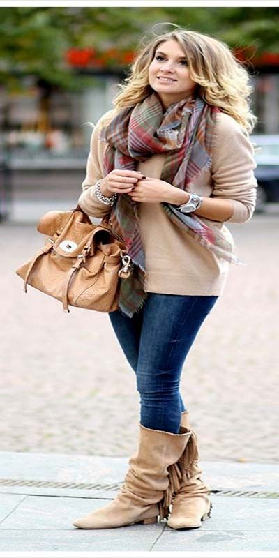 Plaid and Tartan Scarf in Cold Fall and Winter session