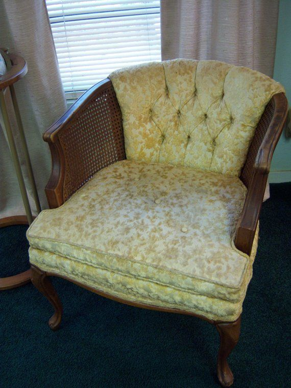 Magnificent Vintage Barrel Style Chair With Cane Sides Queen Anne Legs Theyellowbook Wood Chair Design Ideas Theyellowbookinfo