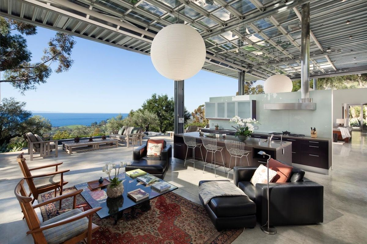 Natalie Portman S Stunning New House By Barton Myers Modern Mansion Indoor Outdoor Living Kitchen Island With Seating