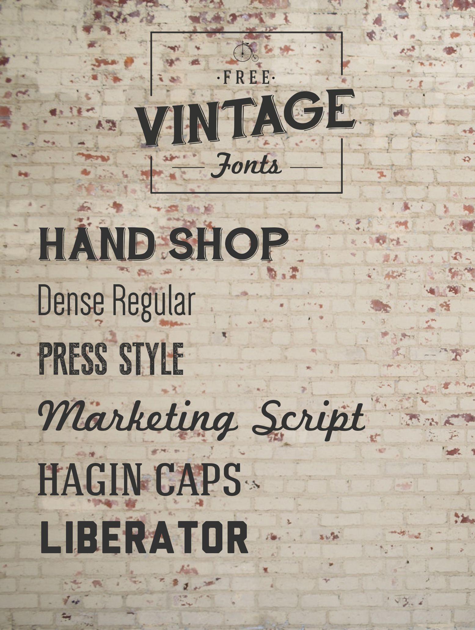 Free Vintage Fonts Vintage fonts, Vintage typography