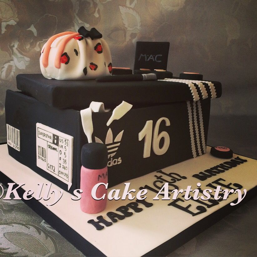 Sweet 16 Cake With A Difference For A Girl Who Loves Her Adidas And Makeup Sports Birthday Cakes Sweet 16 Birthday Cake Sweet 16 Cakes
