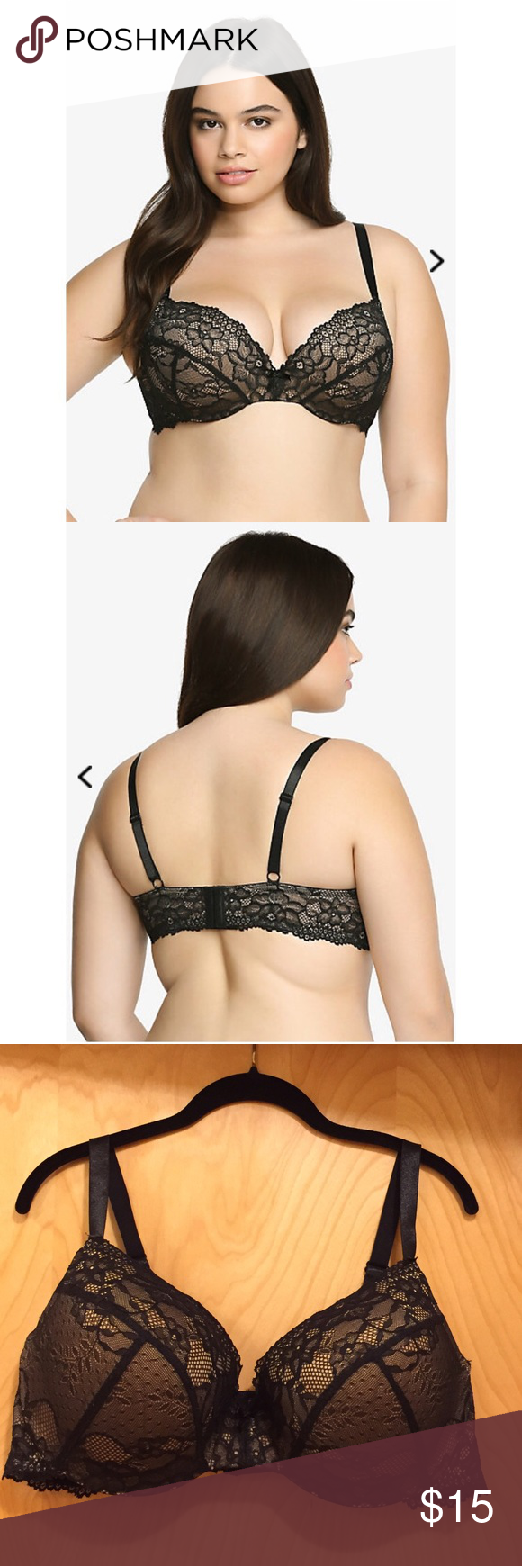 2199fb41af435 EUC Torrid Lace Push-Up Bra in Black 44DD Padded underwire push up bra in