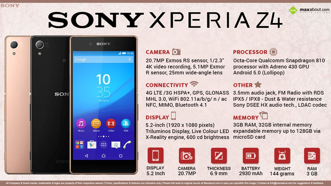 Sony Xperia Z4 with 5 2-inch 1080p display, Octa-Core