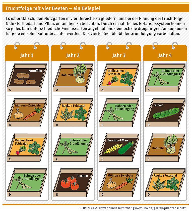 Fruchtfolge Mit Vier Beeten Ein Beispiel Https Www Ecologic Eu De 13503 Fruchtfolge Fruchte Nutzgarten Anlegen