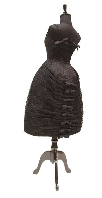 Dress, cocktail, black silk net and taffeta, labelled 'Luci Oelli' (sp?), Rome, c. early 1960s, founder's collection