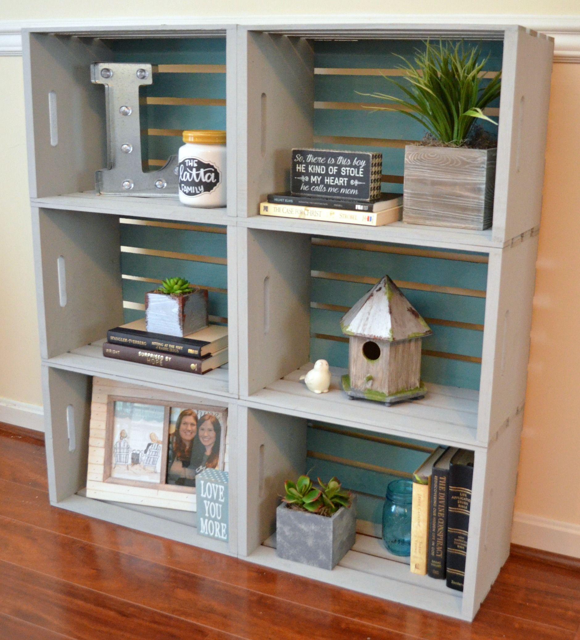 Crate Bookshelf Wooden Diy