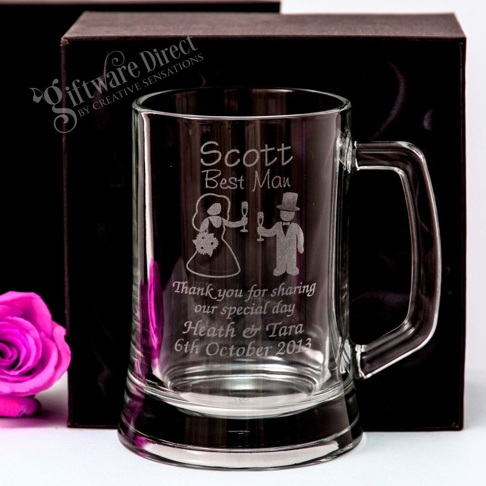 Thank You Favour Gifts Personalised Wedding Role Beer Tankard Glasses