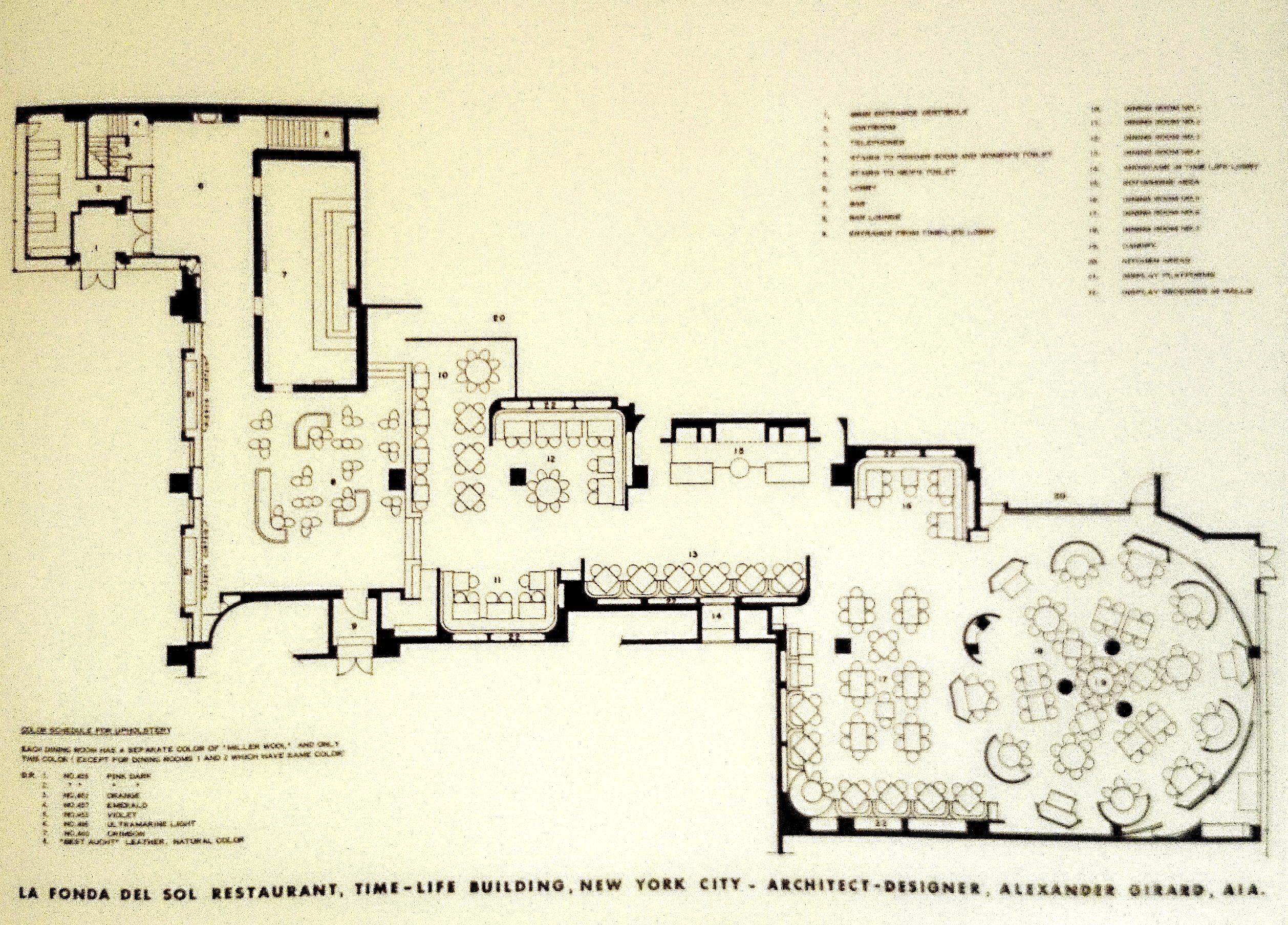 floor plan for la fonda del sol restaurant new york 1960 explore alexander girard restaurant design and more floor plan