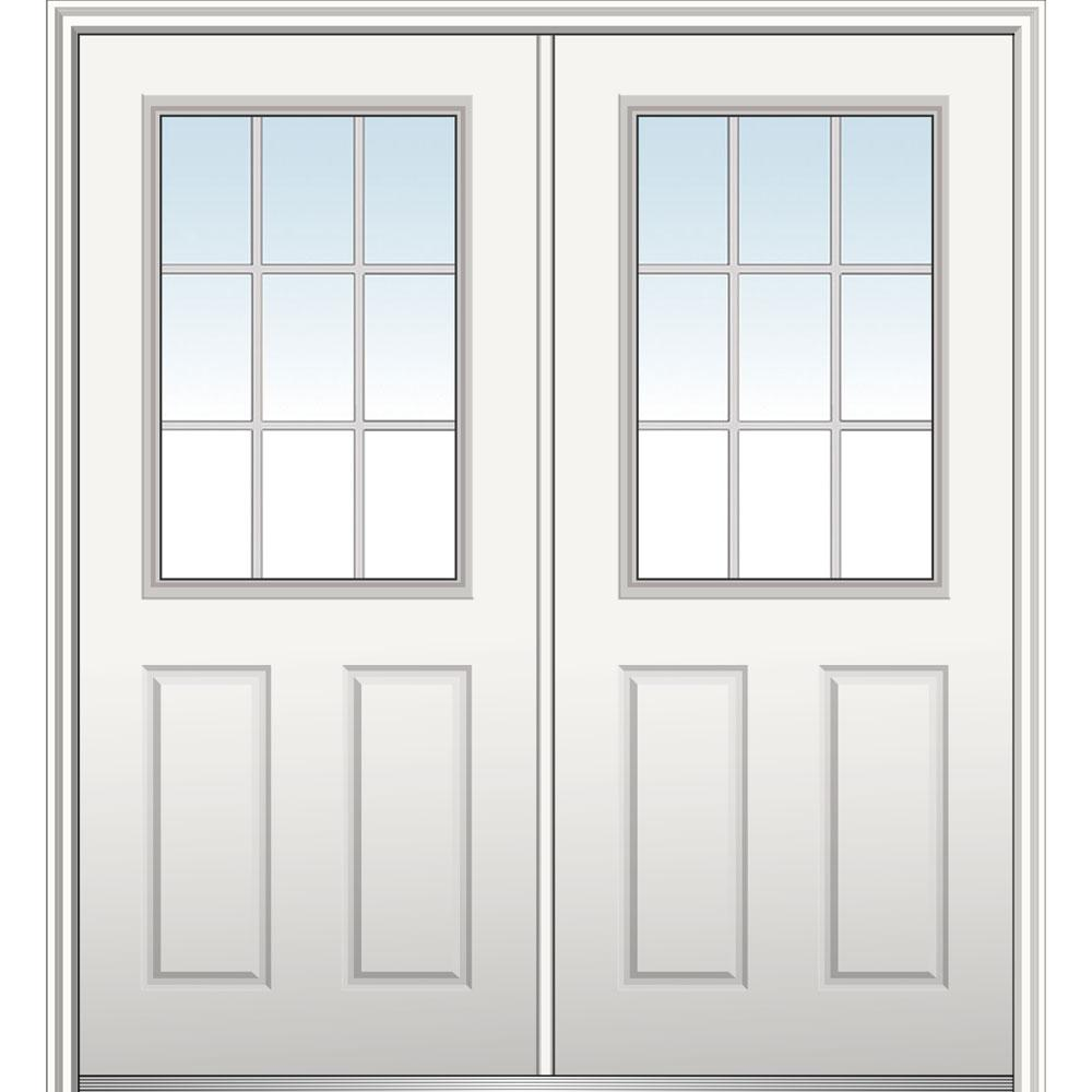 Mmi Door 60 In X 80 In White Internal Grilles Right Hand Inswing 1 2 Lite Clear Glass 2 Panel Primed Steel Prehung Front Door Front Door In 2019 Prehung Doors Interior Barn Doors Exterior Doors