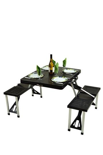 Love this for camping! Portable Picnic Table Set - Black by Festival ...