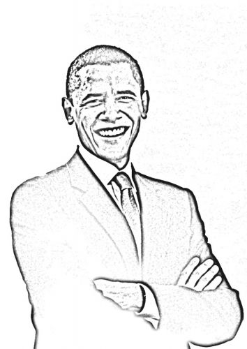 Coloring page President Obama Famous people CoLoRing Pages